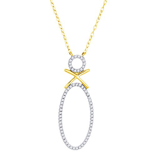 (10K Yellow Gold Round Cut Diamond Double Circle Oval Pendant Chain Necklace .15)