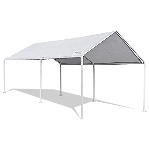 Quictent 20'X10' Heavy Duty Carport Car Canopy Party Wedding Tent with Waterproof, Anti UV Gray Cover - Frame Wedding Canopy
