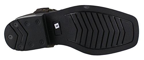 Gringos M486 - Botas para motociclista de piel estilo Harley, vaqueros, botas de tobillo. Marrón - marrón
