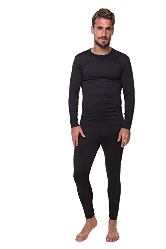 (Outland Men's Thermal Set Lightweight Ultra Soft Fleece, Base Layer, Interior Very Warm 3XL Black)