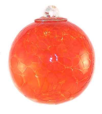 Witch Ball Hand Blown Glass (Orange)