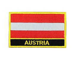 Austria Flag Morale Patch/International Embroidered Iron-On Travel Patches Collection (Austrian sew-on w/Words, 2 x 3)
