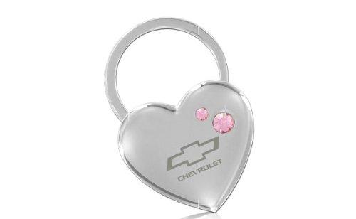 Chevrolet Heart Shape Keychain 2 Pink Crystals Key (Chevrolet Keychain)