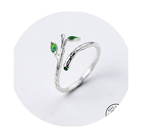 (Charm 925 Sterling Silver Green Enamel Leaves Vintage Adjustable Ring Fine Jewelry for Women Party Accessories Gift)