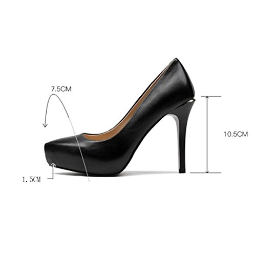 Frauen-Damen-hohe Absätze Weibliche Plattform-flache Berufs-Arbeits-Schuhe Pumpen-Gerichts-Schuh-Stilett-Ferse-reizvolle Partei-Hochzeits-Kleid-Schuhe Black