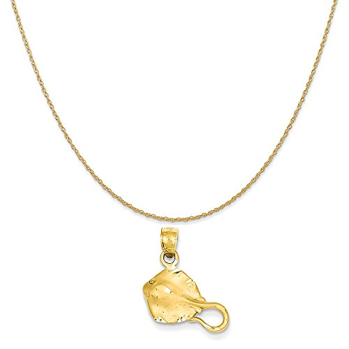 Mireval 14k Yellow Gold Stingray Pendant on a 14K Yellow Gold Rope Chain Necklace, 20