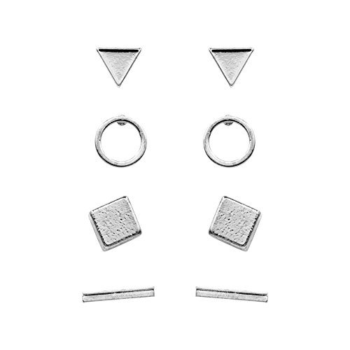Geerier Simple Stud Earrings Set Geometric Triangle Bar Square Ring Earrings Gold Silver Color 4 Pairs