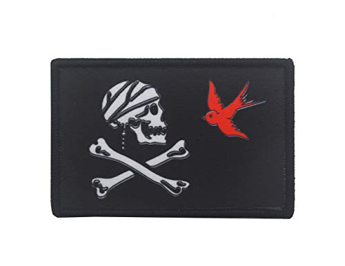 (Jolly Roger Pirate Patch Skull and Crossbones Dead Tactical Military Morale Digital Print Hook & Loop Embroidered Pirate Flag Patches Bicycle Motorcycle Poison Emblem (Style 3))