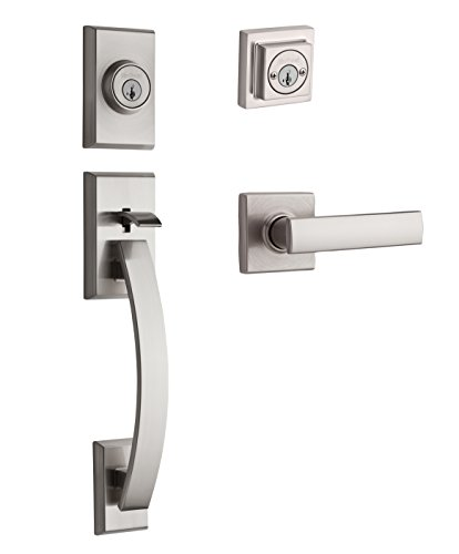 Kwikset Tavaris Double Cylinder Handleset w/Vedani Lever featuring SmartKey in Satin Nickel