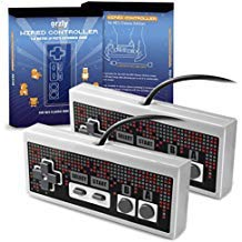 Orzly RetroPad for NES Classic Mini (Twin Pack) - Wired Joypad/Gamepad - 2X Gray Grey Controllers with Extended 1.8m / 6 ft 1.8m Cable for Use with NES Classic Edition (New 2016 Mini NES Model)