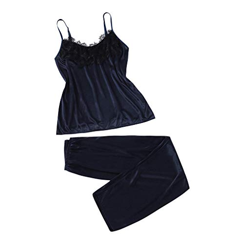 Women Casual Satin Homewear,Girl2PC Cami Lingerie Set Lace-Trimmed Shorts Pajamas Set Sleepwear Nightgown Navy
