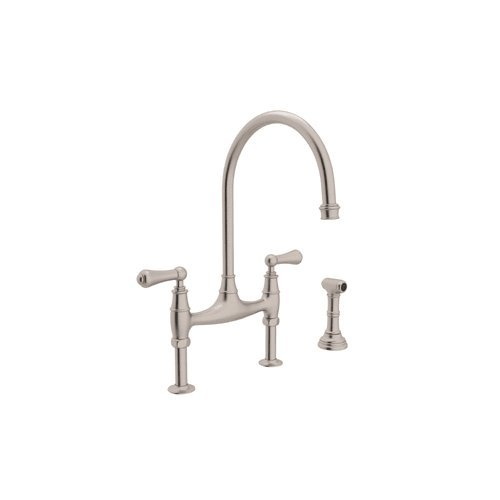 Rohl U.4719L-STN-2 Perrin and Rowe Deck Mount Bridge Kitchen Faucet with Sidespray with High C Spout and Metal ALSace Levers, Satin Nickel (Bridge Spout)