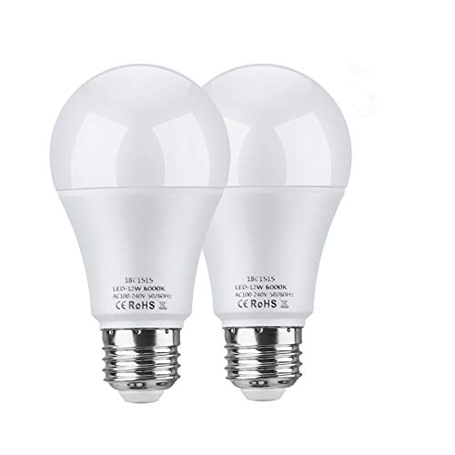 LEKE Dusk to Dawn Light Bulbs 12W E26 Light Sensor Bulb 6000K 100W Equivalent Incandescent Light Auto On/Off,Fit Outdoor, Home, Front Porch Light, Yard Light, Garage Light, White (2 Pack) (Day Outdoor)