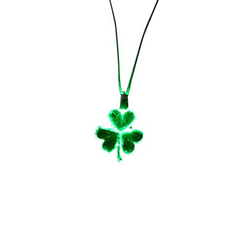 The Electric Mammoth Set of 6 LED Light Up Shamrocks Necklace Pendants (Glowing)
