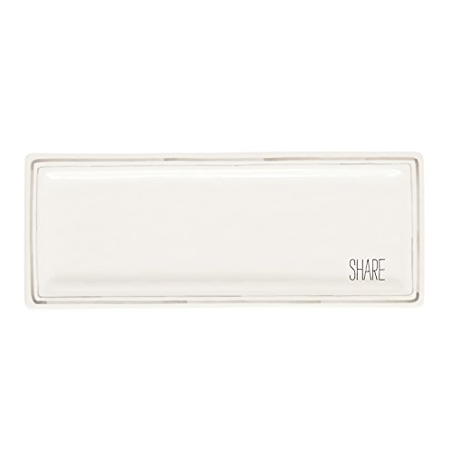 - Mud Pie 4074129 Share Long Platter Hostess Tray, White