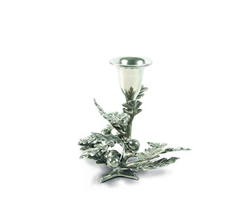 Vagabond House Pewter Metal Oak Leaf Candlestick Holder - 1 Taper 4