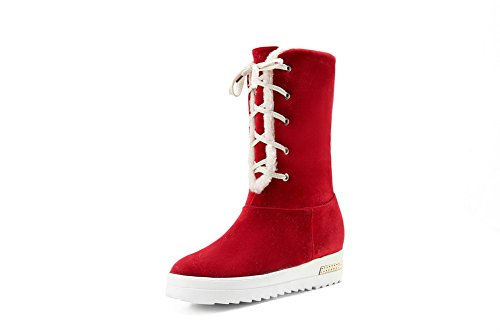 BalaMasa Womens Bandage Platform Foldable Frosted Boots Red nHhSE