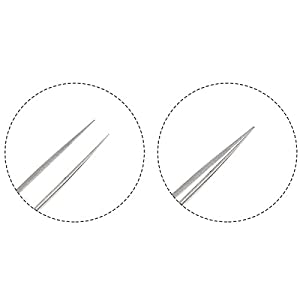 Best Tweezers for Eyelash Extension - Straight and Curved Pointed Tweezers - Professional Stainless Steel Precision Tweezers set - 2 Pcs - Silver - by NIPOO
