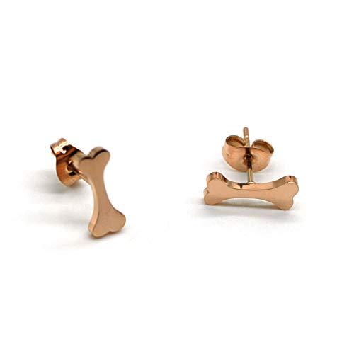 M&T 2015 14K Rose Gold Plated Dog Bone Stud Earrings, Stainless Steel Earrings with Gift Box, Dog Bone -