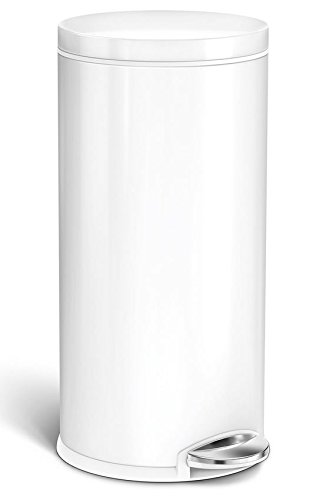 Simplehuman Round Step Trash Can, White Steel, 35 Liters /9 Gallons