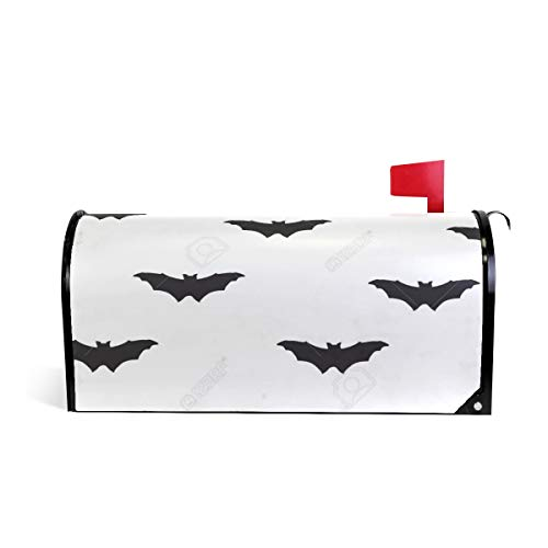 Friendly PVC Magnetic Mailbox Cover,Bat Silhouette Pattern Holiday Halloween Mail Box Makeover Waterproof Anti Sunburn Decor Standard -