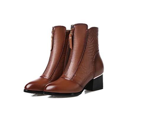 De Cn Gran Moda Terciopelo Bajo Mujer Otoño Tacón Cortas Botas Botines Tamaño Marrón Invierno Mujer Para p5w4H5