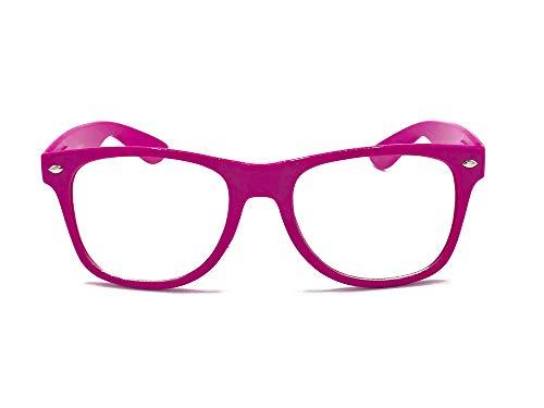 Goson Clear Lens Eye Glasses Non Prescription Glasses Frames For Women and Men - Square Nerd Hipster Glasses - Hot Pink -