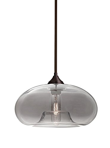 Br Pendant 1 Light Stem (Besa Lighting 1TT-BANASM-BR Bana - One Light Stem Pendant with Stems with Flat Canopy Stem, Bronze Finish with Smoke Glass)