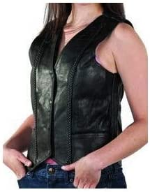 Womens Braided Leather Vest With Classic Style Look (Size 2XL, 2X, XX-Large, 42)