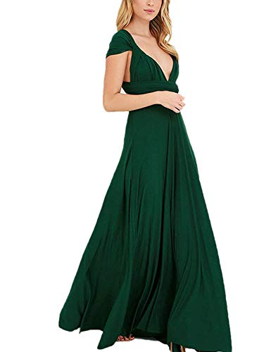 Joeoy Women's Infinity Convertible Multi Way Wrap Maxi Dress Bridesmaid Cocktail Gown Dress (Drak Green)-L