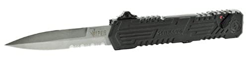 Viper 3, OTF, Black Handle, Bead Blast Blade, Serrated