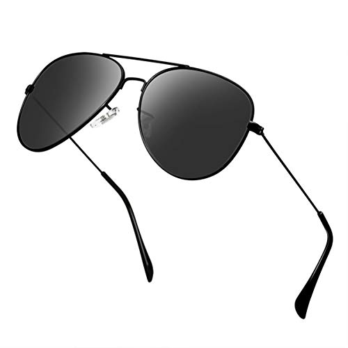Polarized Aviator Sunglasses for Men Metal Mens Sunglasses Driving Unisex Classic Sun Glasses for Men/Women - Metal Aviator Black