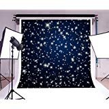 Laeacco Vinyl 8x8ft Photography Background Stars Abstract Backdrop Night Sky Stars Starry Shiny Twinkles Dark Blue Background Children Baby Kids Girls Photo Studio Props Birthday Party Festival Event