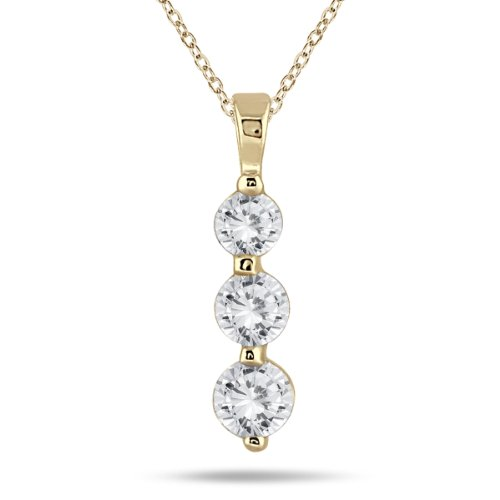 AGS Certified 1 Carat TW Three Stone Diamond Pendant in 14K Yellow Gold