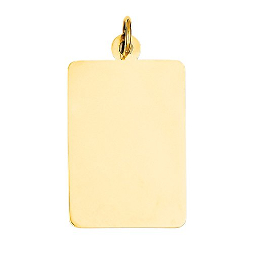 Engravable Rectangular Disc Charm Pendant, 14K Gold