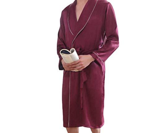 semplice Simulazione lungo primaverile uomo Abito Uomo bagno Autunno stile accappatoio Ntel pigiama Rosso per e Tw0FddxPq