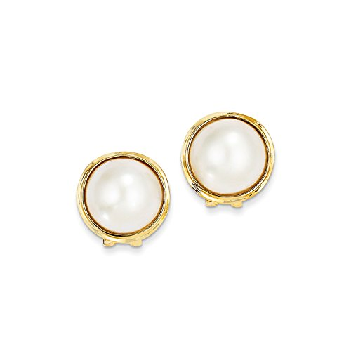 Roy Rose Jewelry 14K Yellow Gold 14-15mm Cultured Mabe Pearl Earrings 14k Yellow Gold Mabe Pearl