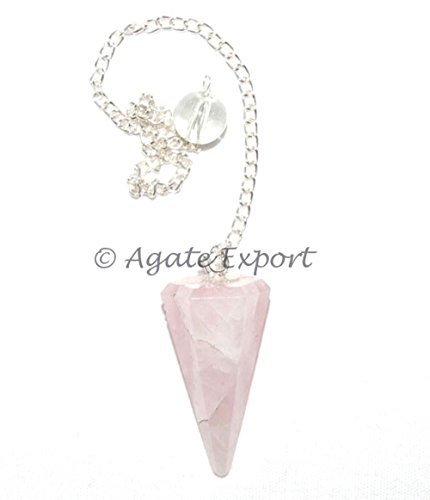 Rose Quartz Gemstone 6 Faceted Pendulum, Metaphysical Dowsing Tool, with Usage Card and Pouch