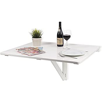 Large Wall Mount Drop Leaf Folding Table White Solid Wood 36 X 30 Inches