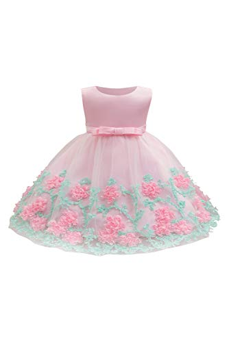 CosSail Baby Girls Princess Dress Flower Lace Dress 3D Bowknot for Birthday Dress Up -