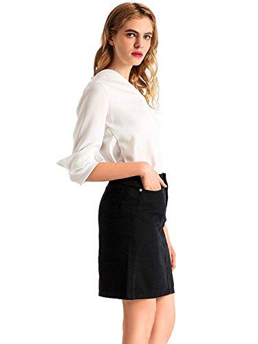 Crayon t Jupe Sexy Denim Jupes Taille Noir Filles AMORETU Jeans Femmes Haute qOAwBH