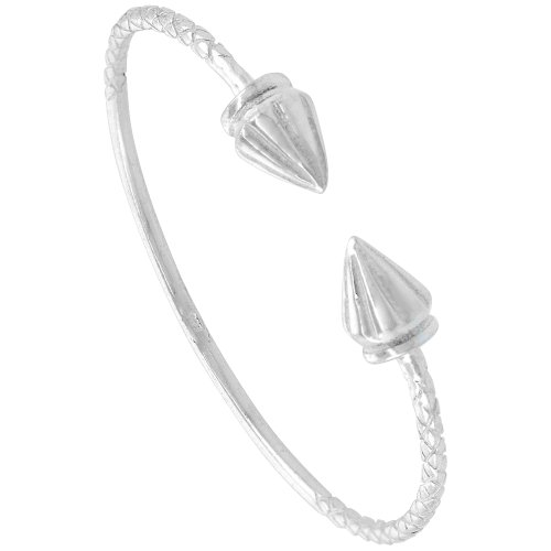 Sterling Silver West Indies Bangle Braclet Ridged Cone Junior Size, 7 -