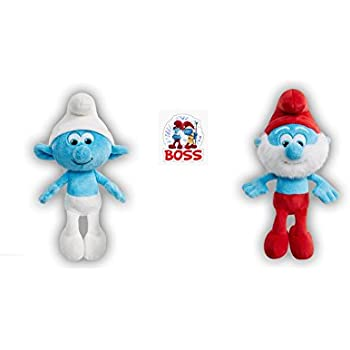 Smurfs The Lost Village 8 Papa Smurf Hefty Bean Bag Soft Stuffed Doll Toy With Smurfwillow BOSS Sticker Bundle