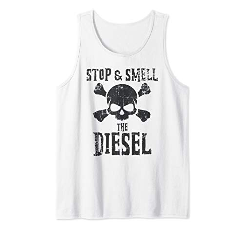 Mens Stop & Smell The Diesel Power Skull & Crossbones  Tank Top