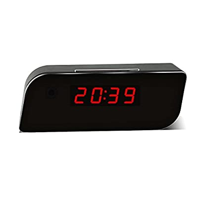 SpyGear-MEAUOTOU Wi-Fi Hidden Camera Alarm Clock App Monitor 1080P HD Remote Real-time Video With Audio Motion Detection Alarm Spy Camera Home Security Camera Wireless Nanny Cam Black - MEAUOTOU