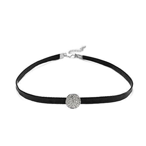 "- KesaPlan ""Peace-Loving"" Choker Leather Cord Necklace.Crystal from Swarovski (White)"
