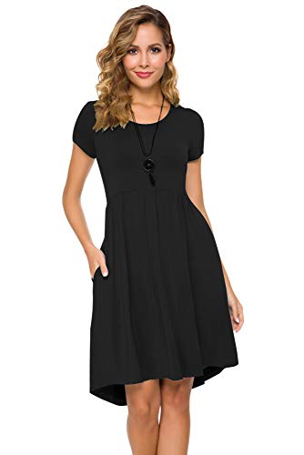 Women's Short Sleeve Flare Midi Dress Summer Loose Casual Swing Dress with Pockets in Dot and Floral (XL, Pure Black)