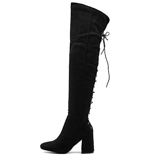 Back Lace Ollio Zip Faux up Women The Boots Over up Black Shoe Long Suede Knee gqXwXvrI