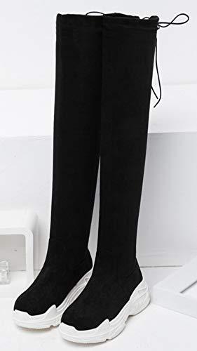 Epaise Cuissarde Mode Tige Noir1 Semelle Chaud Femme Botte Aisun Longue aYXa5