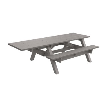 (ADA - 1 Chair) Traditional Recycled Plastic Picnic Table - Gray - Gray Frame (Recycled Benches Picnic Plastic)